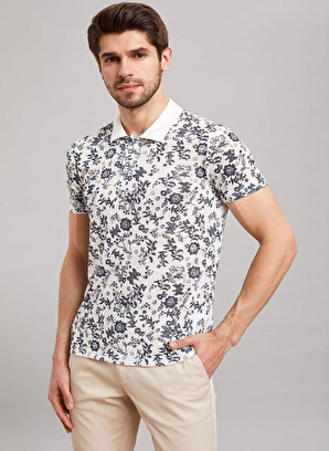 DeFacto Floral Desenli Polo T-shirt